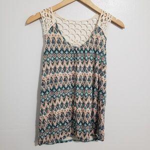 {Mudd} Aztec Print & Crochet Tank